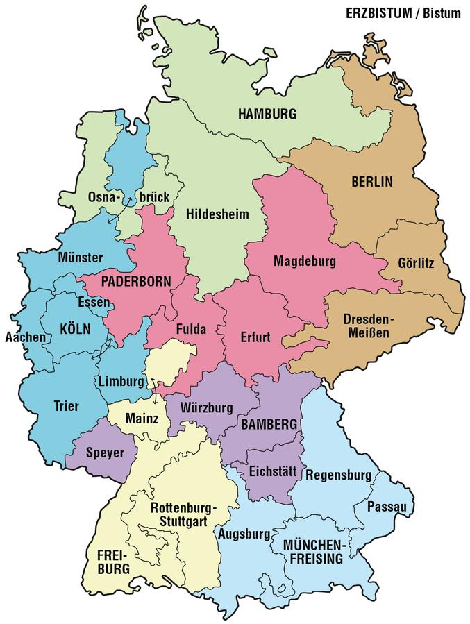 Karte der Erzbistümer und Bistümer in Deutschland